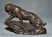 """5.2 """"Chinois buis en bois sculpté Fengshui 12 zodiaque année Tiger Animal Statue"""