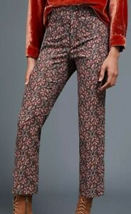 NWT Anthropologie The Essential Slim Trousers Pants 10 Brown Motif Floral $128