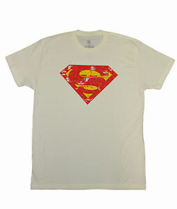 New Kinetix Men's Superman logo Print Vintage SS Tee shirts t-shirt Top Bone