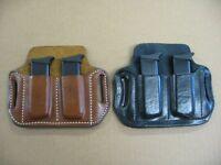 Azula Leather OWB 2 Slot Pancake Belt Dual Mag Clip Pouch .Choose Gun & Color -B