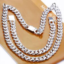"""Cool Sterling Silver 10MM 18"""" Sideway Strong Men Necklace Bracelet Set S101"""