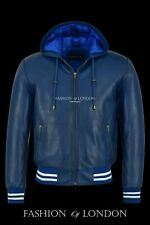 Mens BASEBALL HOODED Leather Jacket Blue Wax Hip Hop Lambskin Jacket Hoodie 4486