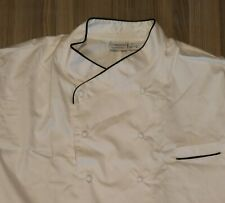 """Chef Works Chefs Jacket White Long with Black Piping Covered buttons 52"""" W / Cap"""