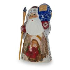 Hand Carved Wooden Russian Ded Moroz (Santa) Figurine 6.25 Inches