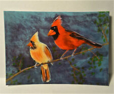 Red Cardinal Birds ACEO Original Anmal PAINTING by Leslie Popp