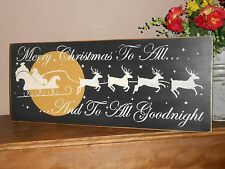 MERRY CHRISTMAS TO ALL   w / sled  wood sign primitive