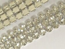 3 Row Rhinestone Ribbon Trim Banding Wedding Cake Decoration Flat Back - 1 YARD