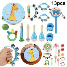13Pcs Wooden Kids Music Instruments Kit Toys Children Toddlers Percussion Set