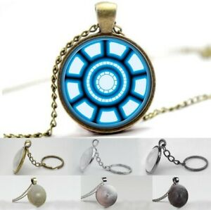 Avengers - Iron Man - Tony Stark Arc Reactor Photo Glass Dome Necklace, Keyring