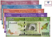 SRI LANKA BANKNOTE SET 5 PCS,20 50 100 500 1000 RUPEES 2015-17 P123-128 UNC