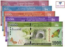 SRI LANKA BANKNOTE SET 5 PCS, 20 50 100 500 1000 RUPEES 2015-17 P123-128 UNC