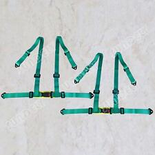 SPORTS RACING HARNESS SEAT BELT 4 POINT FIXING MOUNTING GREEN PAIR