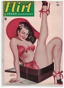 Driben Created this Cover Flirt Magazine Sexy Brunette in Box Dec 1954 8.5x11.5