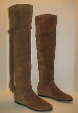 7a6acd3fb84 NEW STUART WEITZMAN TROUBADOUR OVER THE KNEE FRINGE BOOTS BROWN SUEDE SIZE  5.5