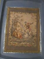 Vintage France Silk Tapestry (Neyret Freres?) shows woman (Queen ?) & servants