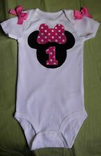 MINNIE MOUSE 1st BIRTHDAY bodysuit - EMBROIDERED ~ CAN BE PERSONALIZED