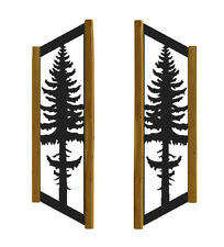 "Clingermans 48"" Tall Pinetree Window Shutters - Rustic Log Cabin Decor"