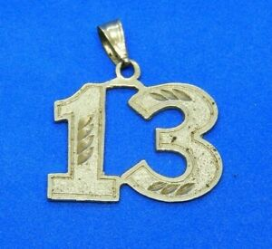 14K Yellow Gold Number Thirteen 13 Charm or Pendant