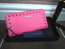 REBECCA MINKOFF BUBBLE GUM PINK STUDDED ZIP AROUND PURSE/WALLET BNIB