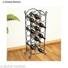Wine Rack Bottle Holder 21 Bottles Storage Metal Bar Pub Cellar Classic BLACK
