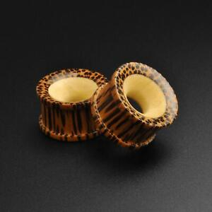 Wooden Ear Tunnels | Coconut Wood Double Flare Tunnel With Crocodile Wood Inlay