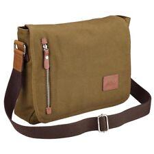 "14"" Vintage Canvas Cross Body Schoolbag Satchel Shoulder Messenger Bag Casual"