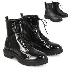 Womens Lace Up Ankle Boots Ladies Biker Gothic Winter Black Combat Booties Size