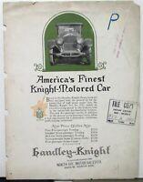 1922 Handley Knight Dealer Sales Brochure Folder Touring Sedan Original Rare