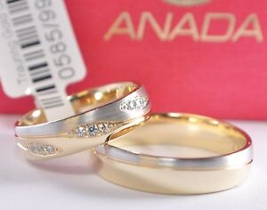 Pair Price Wedding Rings Gold 333 with Zirconia - Bicolour Yellow Gold/White -
