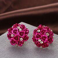 1Pair Women Girl Jewelry Elegant Rose Flower Crystal Rhinestone Ear Stud Earring