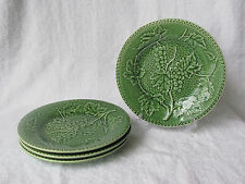 "Set Of 4 Bordallo Pinheiro Grapes & Vines Green Salad Plates 7 3/4"" Portugal EUC"