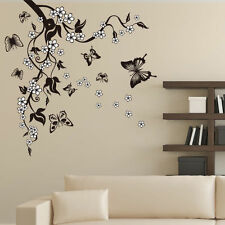 Butterfly Flower Tree Wall Sticker Decor Living Room Decal Decorative Decal Art