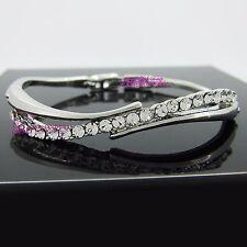 Real Women Solid 18k White Gold GF Ladies Girls Oval Bangle Bracelet Lab Diamond
