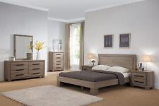 4pcs Bedroom Set Queen Size Platform Bed Dresser Mirror Nightstand Dark Taupe