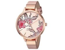 Nine West Women's Rose Gold-tone Floral Strap Watch