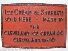 Old Cleveland Ice Cream Co Advertising Sign embossed Ice Cream & Sherberts Ohio