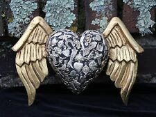 Gothic Winged Black Heart Carved Wooden Milagros Folk Art Michoacán Mexico LOVE!