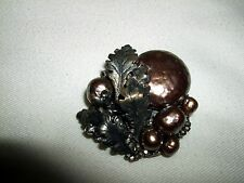 VINTAGE MIRIAM HASKELL BROOCH PIN FAUX BAROQUE PEARL FILIGREE BACK