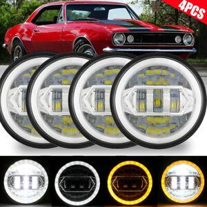 4PCS 5.75 5-3/4 Round LED Hi-Lo DRL Headlights DOT For Cadillac Calais 1965-1974