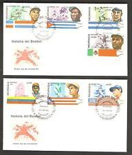 Nicaragua 1984 Famous Baseball Players - Complete Set of FDC's