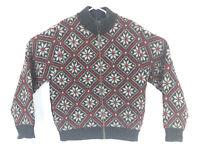 LL BEAN Women Sweater VTG Full Zip Pullover Wool Alpaca Sz L Geometric Print