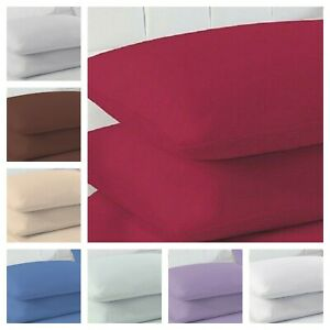 2 x Pillow case Percale Polycotton Plain Dyed 100% Poly Cotton Housewife Covers