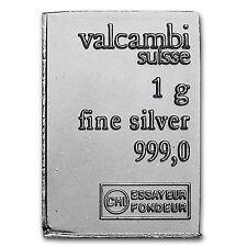 1 gram Silver Bar - Valcambi - SKU #85346
