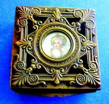 VINTAGE ORNATE EDWARDIAN GILT BOX WITH HAND PAINTED MINIATURE UNDER GLASS