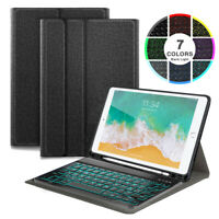 For iPad 2018/2017 9.7 inch Backlit Bluetooth Keyboard Case with Pencil Holder