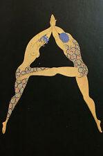 Erte 1982 Alphabet Series - A - GYMNASTICS DANCE BOY GIRL Matted Print First Ed.