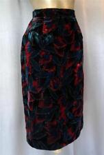 FITTED SHIMMERY PAINTED VELVET Vintage 1980s PENCIL SKIRT - 25.5 inch waist