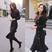 Korean Women Stretch Slim Buttons Fishtail Bodycon Sheath Cocktail Sweater Dress