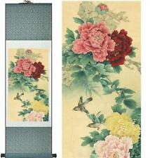 "Birds peony Painting Home Office Decoration Chinese scroll painting 12""x40"""