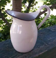 Vintage White Enamel Farm Pitcher with Black Trim Handle Granite Ware